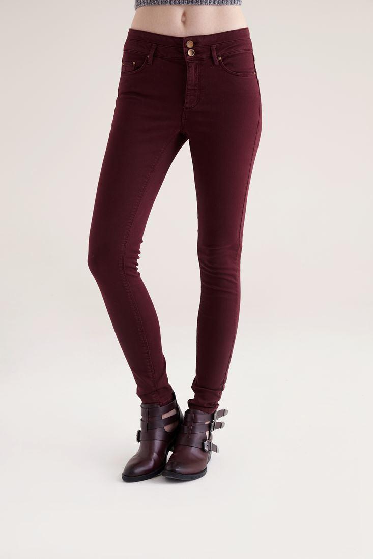 Bayan Bordo Yüksek Bel Skinny Pantolon