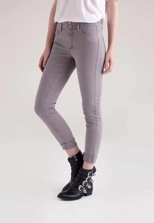Gri Yüksek Bel Skinny Pantolon