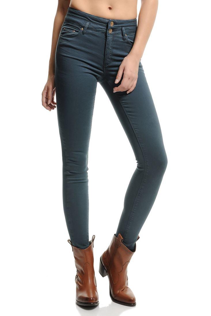 Lacivert Yüksek Bel Skinny Pantolon