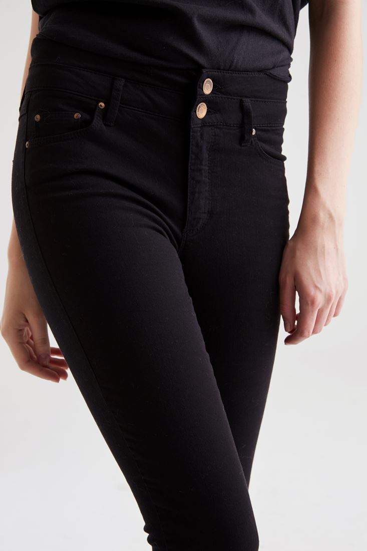 Bayan Siyah Yüksek Bel Skinny Pantolon