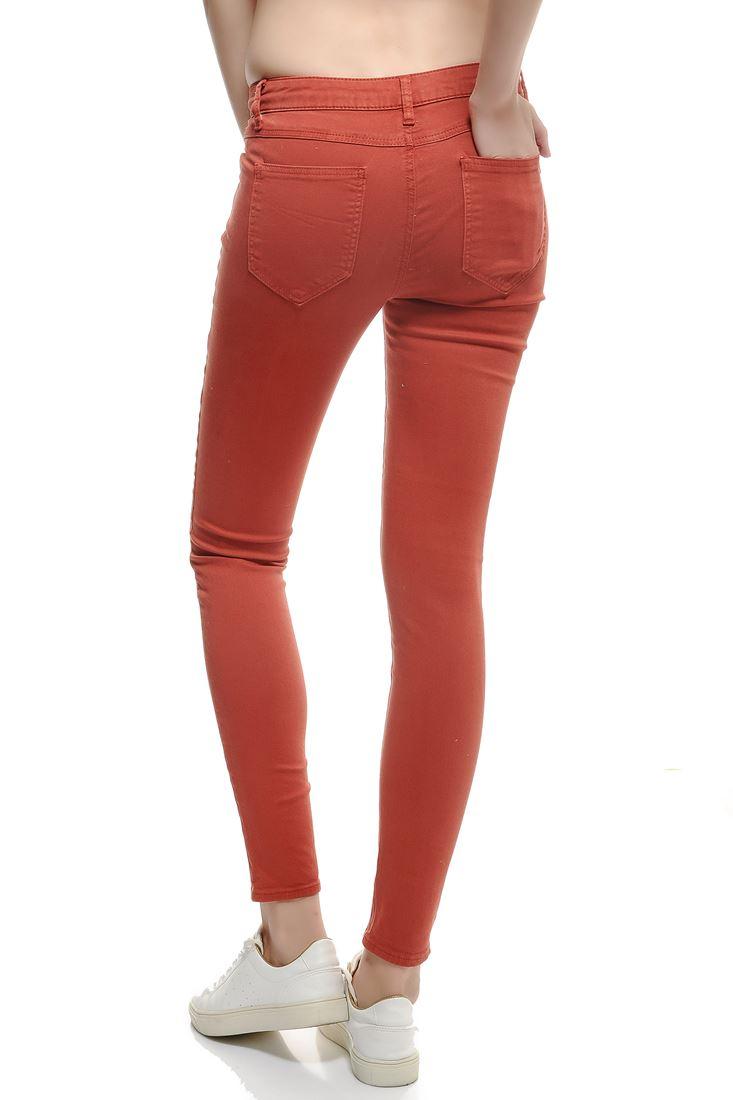 Bayan Turuncu Düşük Bel Skinny Pantolon