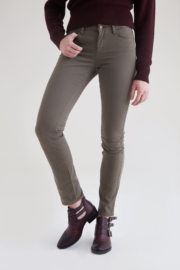 Green Low Waisted Slim Leg Trouser