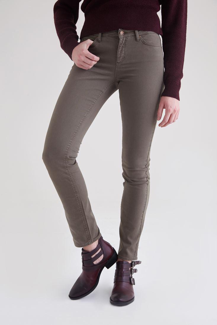 Women Green Low Waisted Slim Leg Trouser