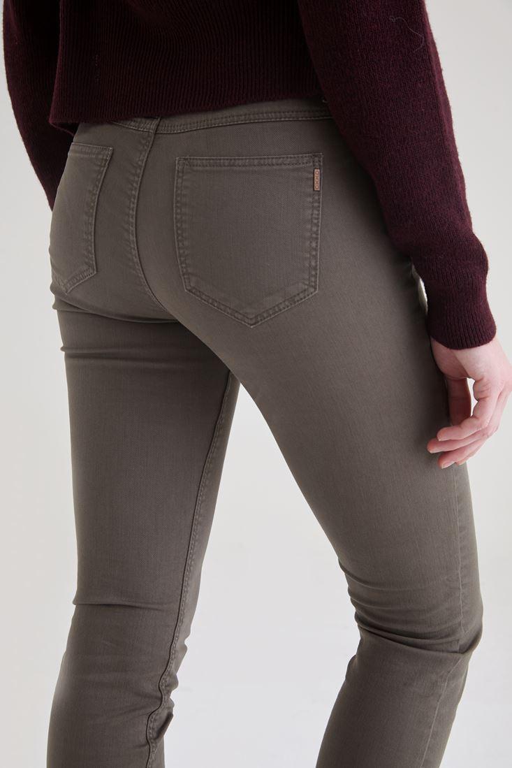Bayan Yeşil Düşük Bel Slim Paça Pantolon