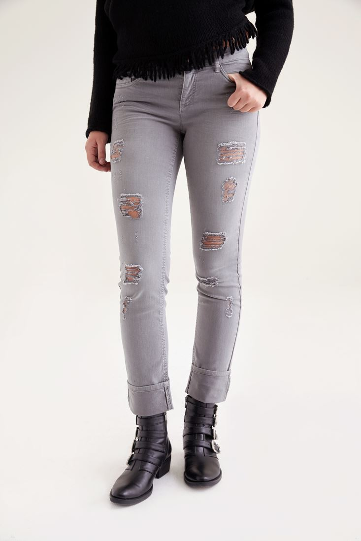 Beyaz Slim Paça Yıpratılmış Pantolon