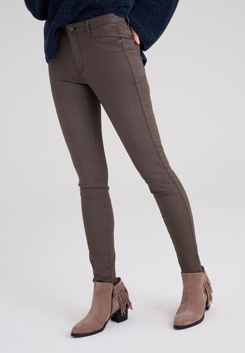 Yeşil Kaplamalı Yüksek Bel Skinny Pantolon