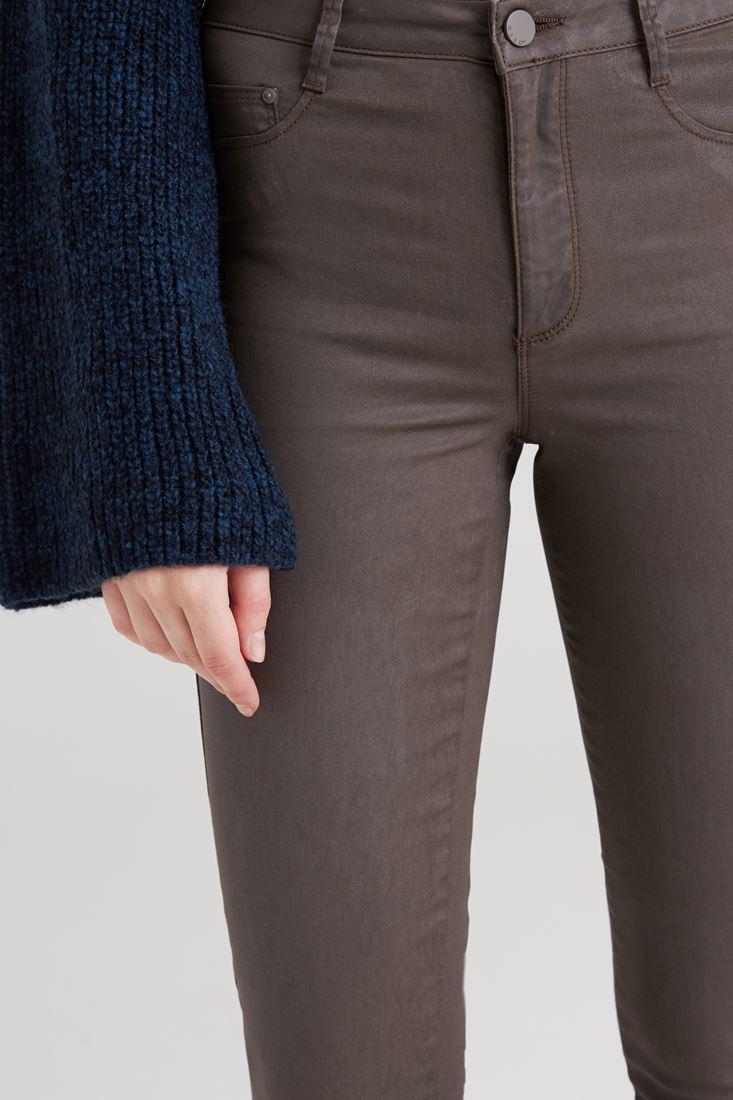 Bayan Yeşil Kaplamalı Yüksek Bel Skinny Pantolon