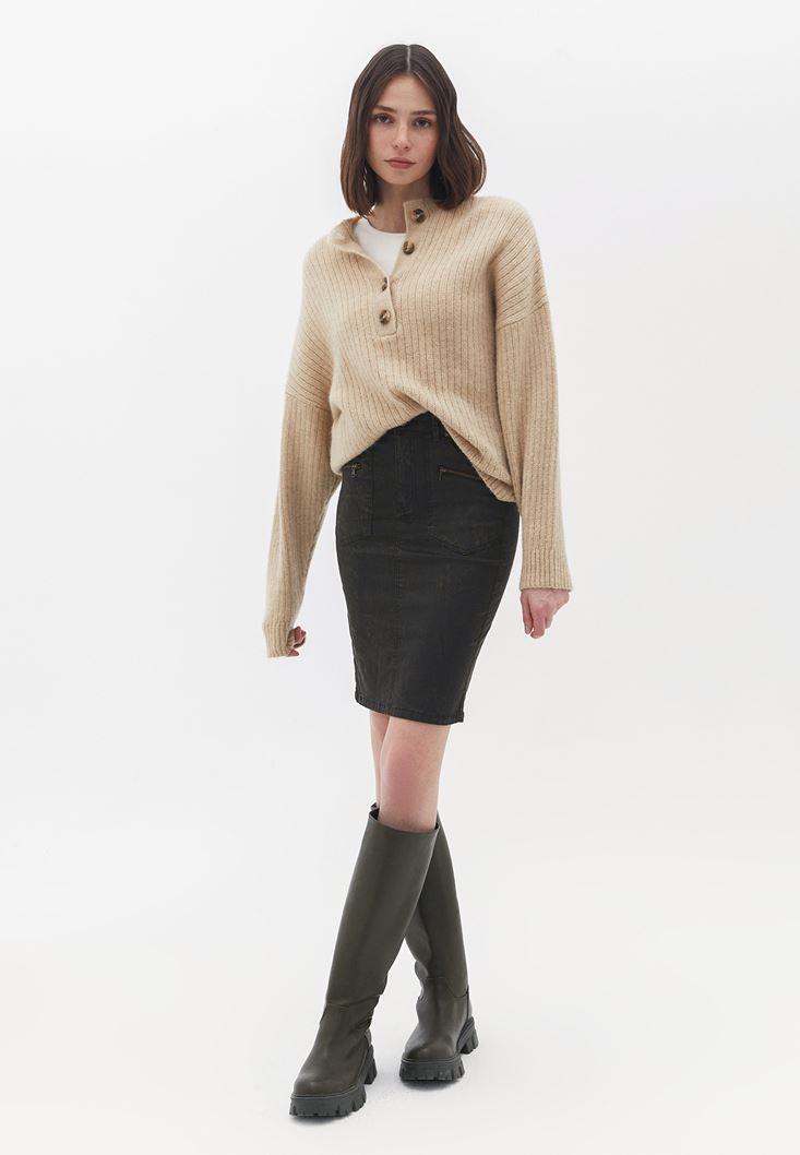 Green High Rise Pencil Skirt
