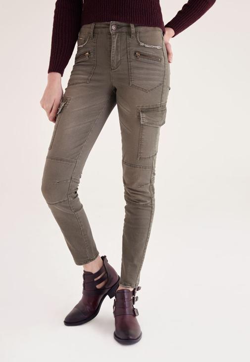 Yeşil Dar Paça Kargo Pantolon