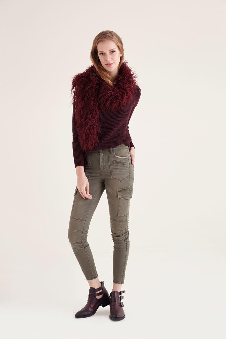 Bayan Yeşil Dar Paça Kargo Pantolon