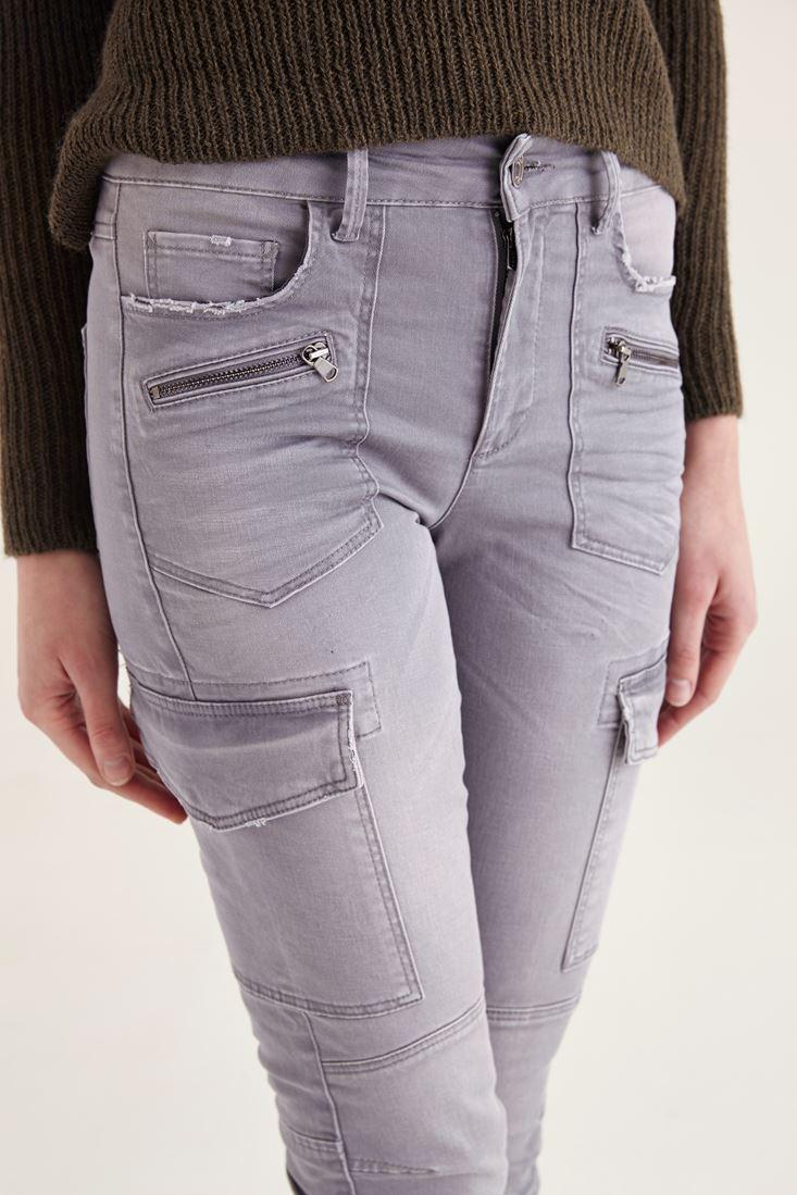 Bayan Gümüş Dar Paça Kargo Pantolon