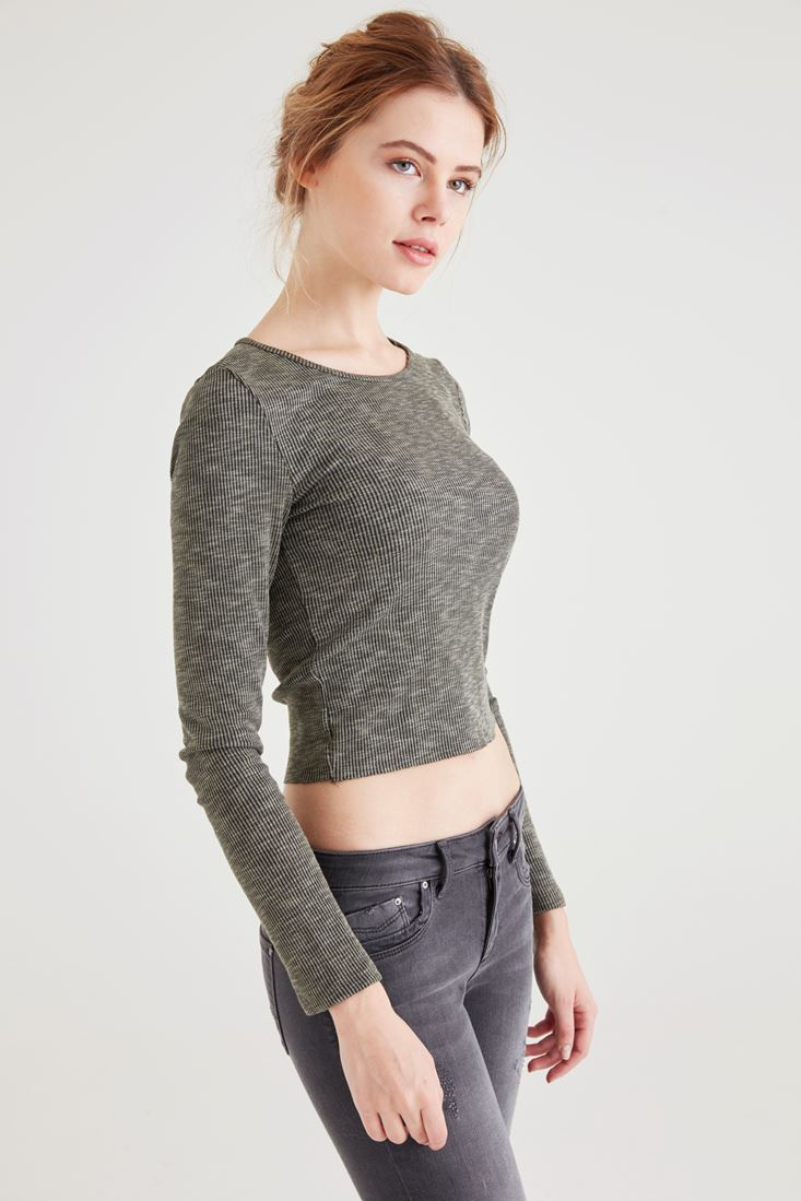 Bayan Yeşil Crop Tişört