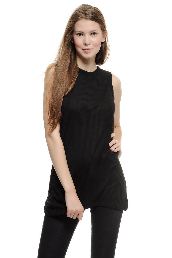 Bayan Siyah Arka Detaylı Bluz