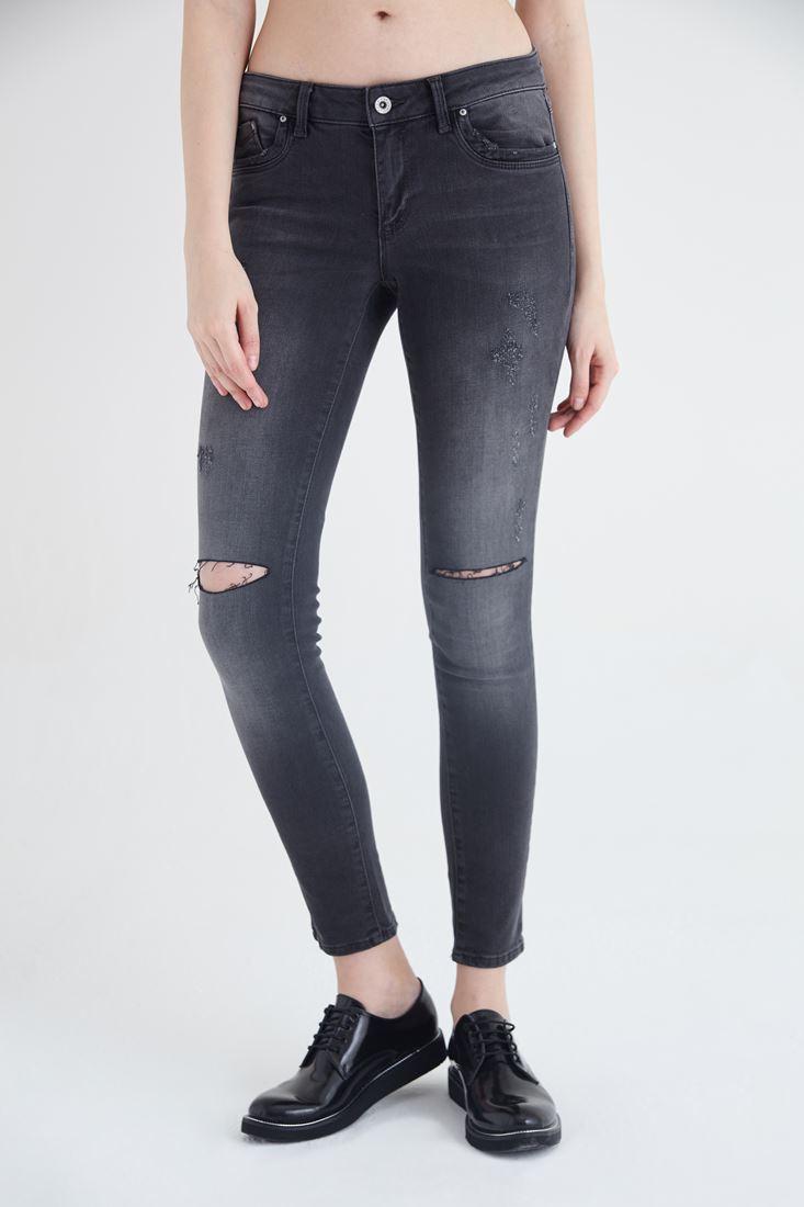 Bayan Gri Skinny Denim Pantolon