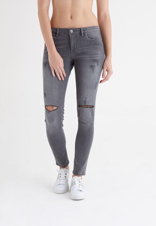 Gri Skinny Denim Pantolon