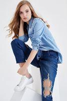 Bayan Mavi Denim Gömlek