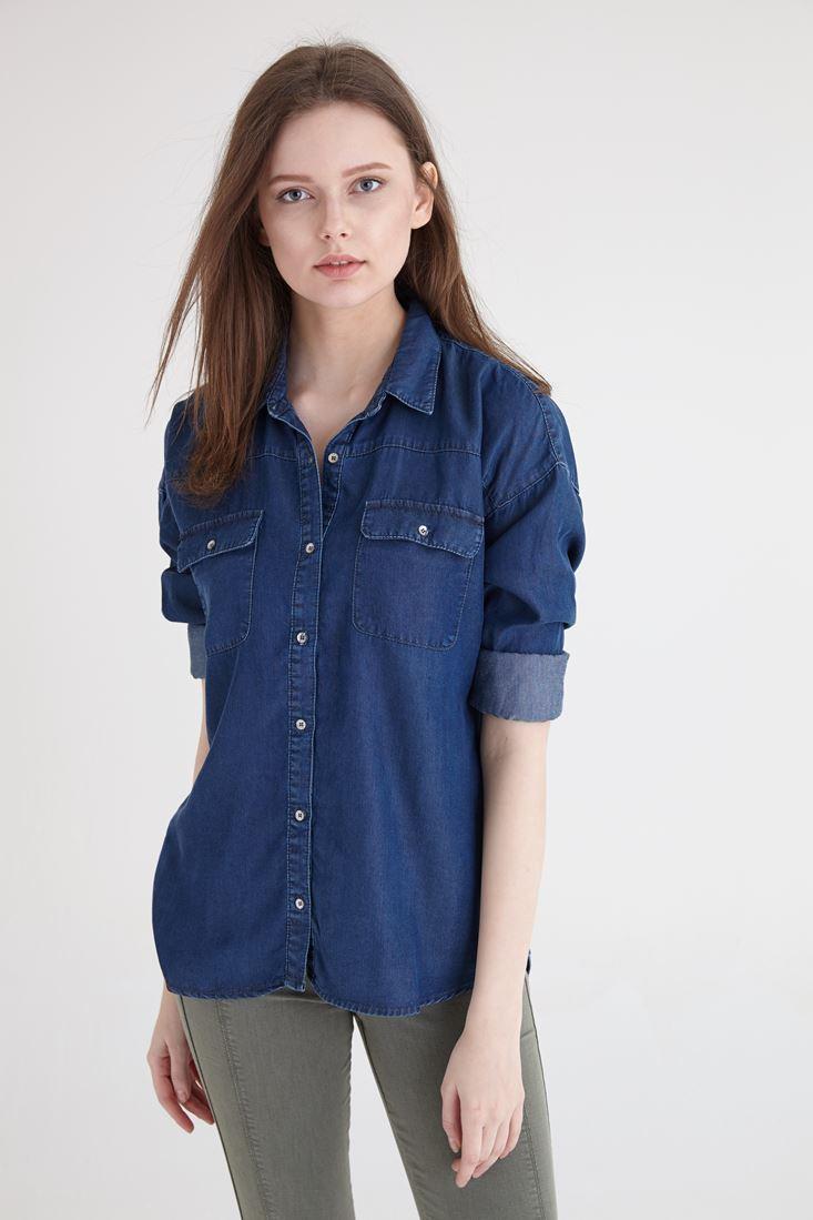 Bayan Mavi Tencel Gömlek