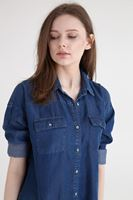 Bayan Mavi Denim Tencel Gömlek