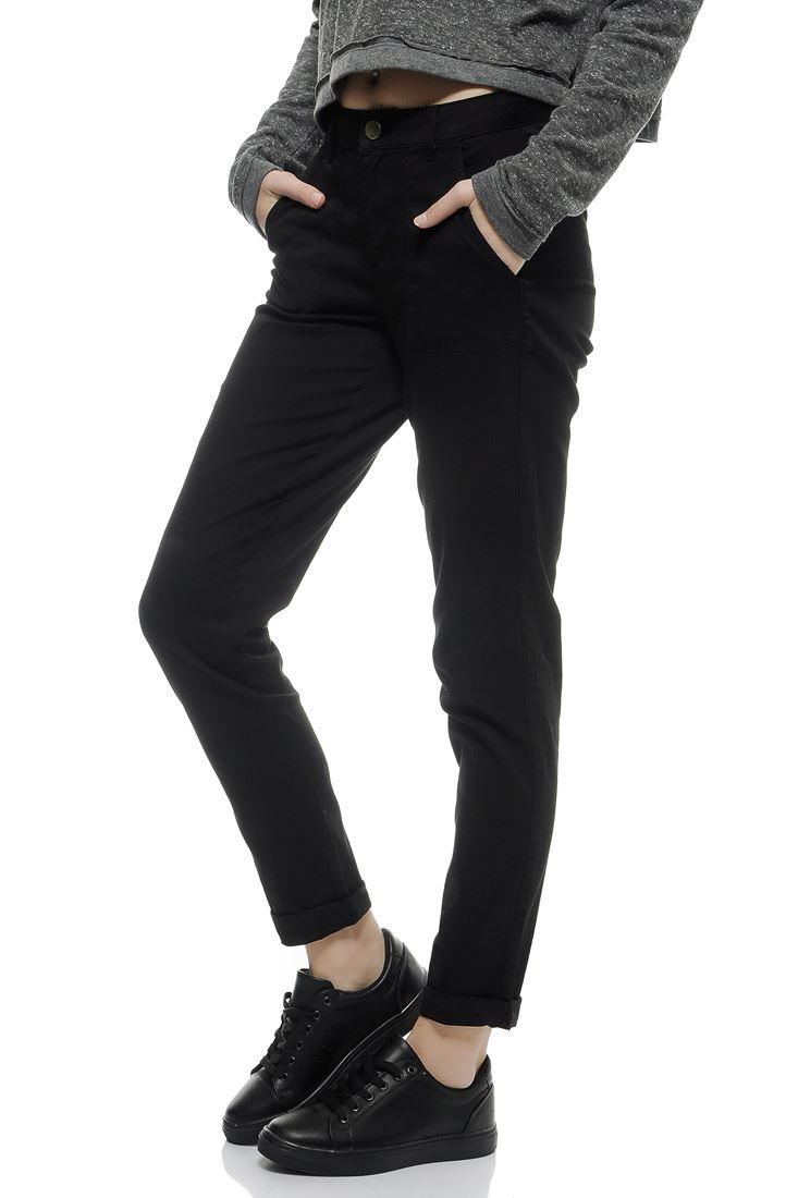 Bayan Siyah Yüksek Bel Cepli Pantolon