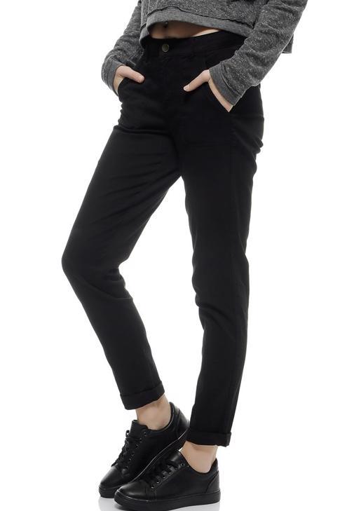 Siyah Yüksek Bel Cepli Pantolon