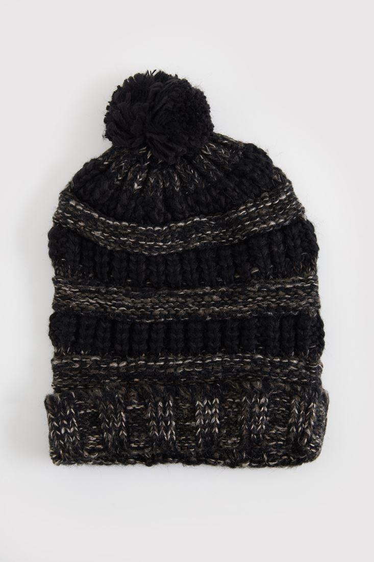 Siyah Kırçıllı Ponponlu Bere