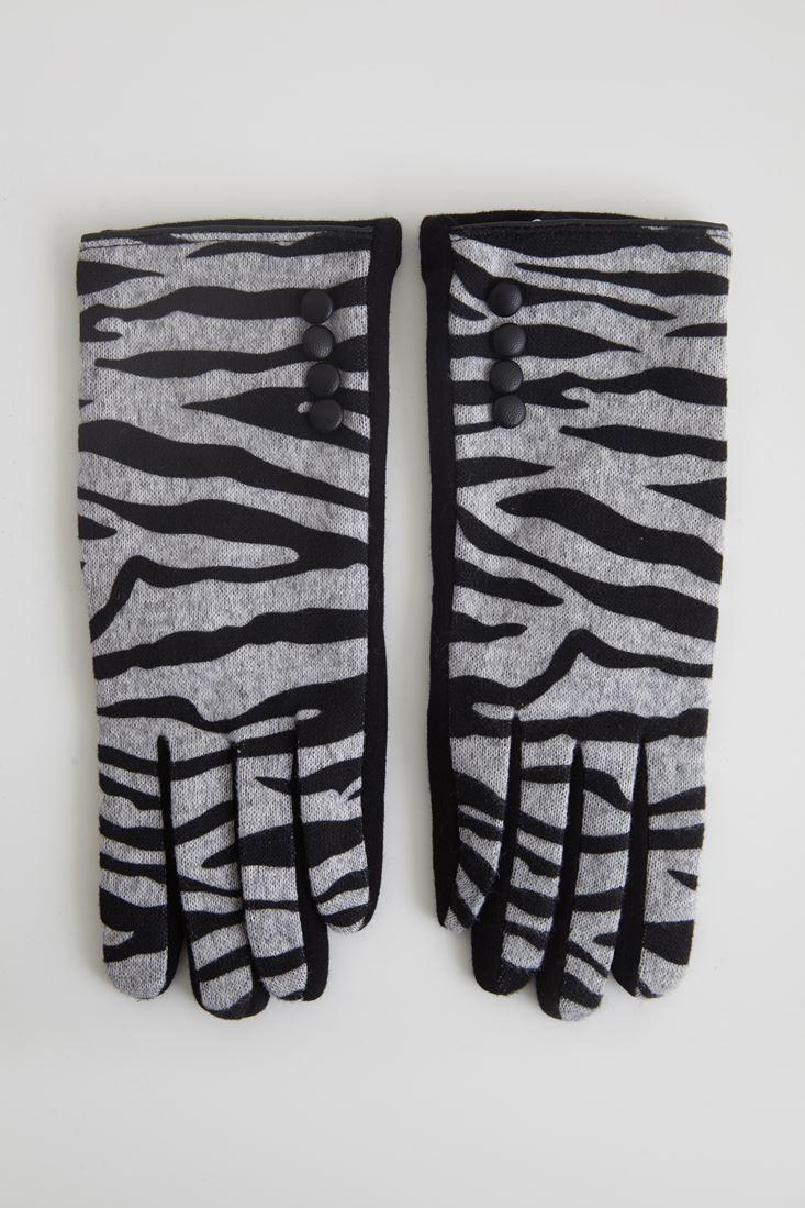 Çok Renkli Zebra Desenli Eldiven