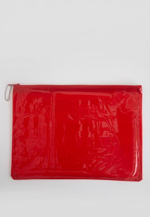 Kırmızı Şeffaf El çantası