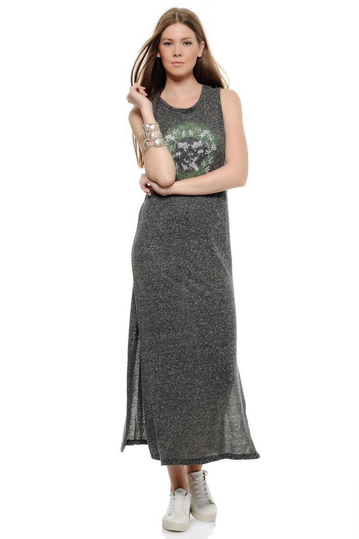 Bayan Gri Yanları Yırtmaçlı Kolsuz Elbise