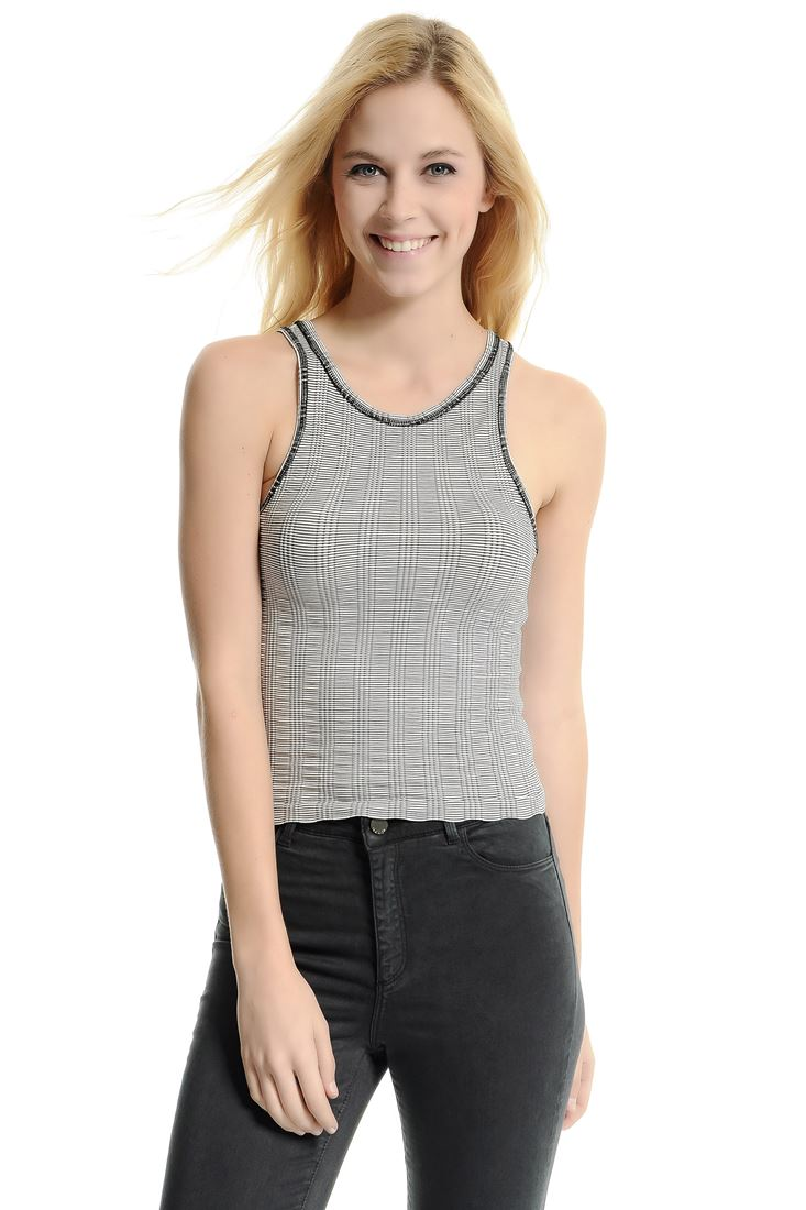 Mixed Seamless Cross Back Top