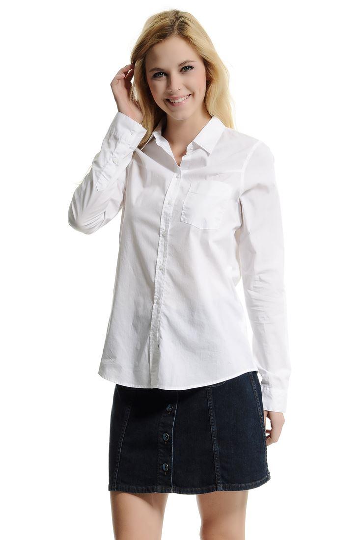Bayan Beyaz Uzun Kollu Beyaz Gömlek