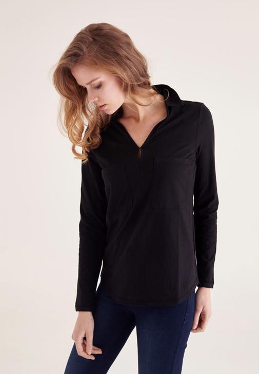 Siyah Pamuklu Yaka Detaylı V yaka Bluz