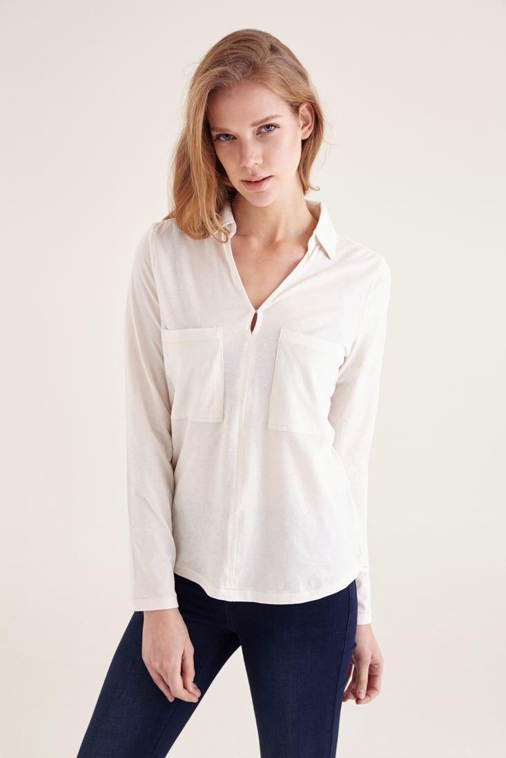 Krem Pamuklu Yaka Detaylı V yaka Bluz