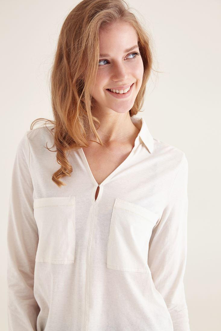 Bayan Krem Pamuklu Yaka Detaylı V yaka Bluz