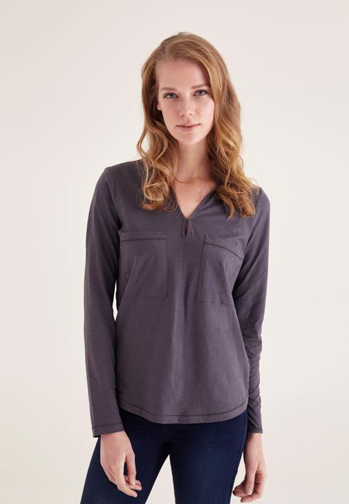 Gümüş Pamuklu Yaka Detaylı V yaka Bluz