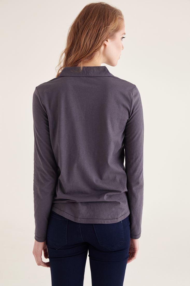 Bayan Gümüş Pamuklu Yaka Detaylı V yaka Bluz