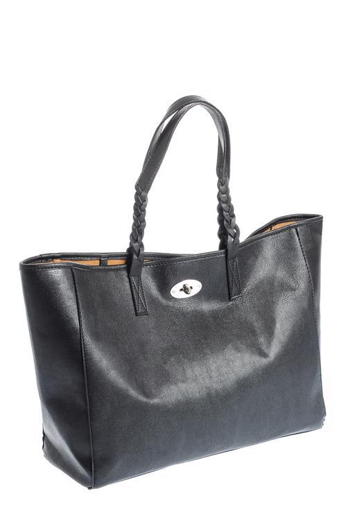 Siyah Örgü Sap Detaylı Çanta