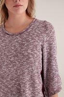 Bayan Bordo Arkası Dantelli Omuz Detaylı Tişört