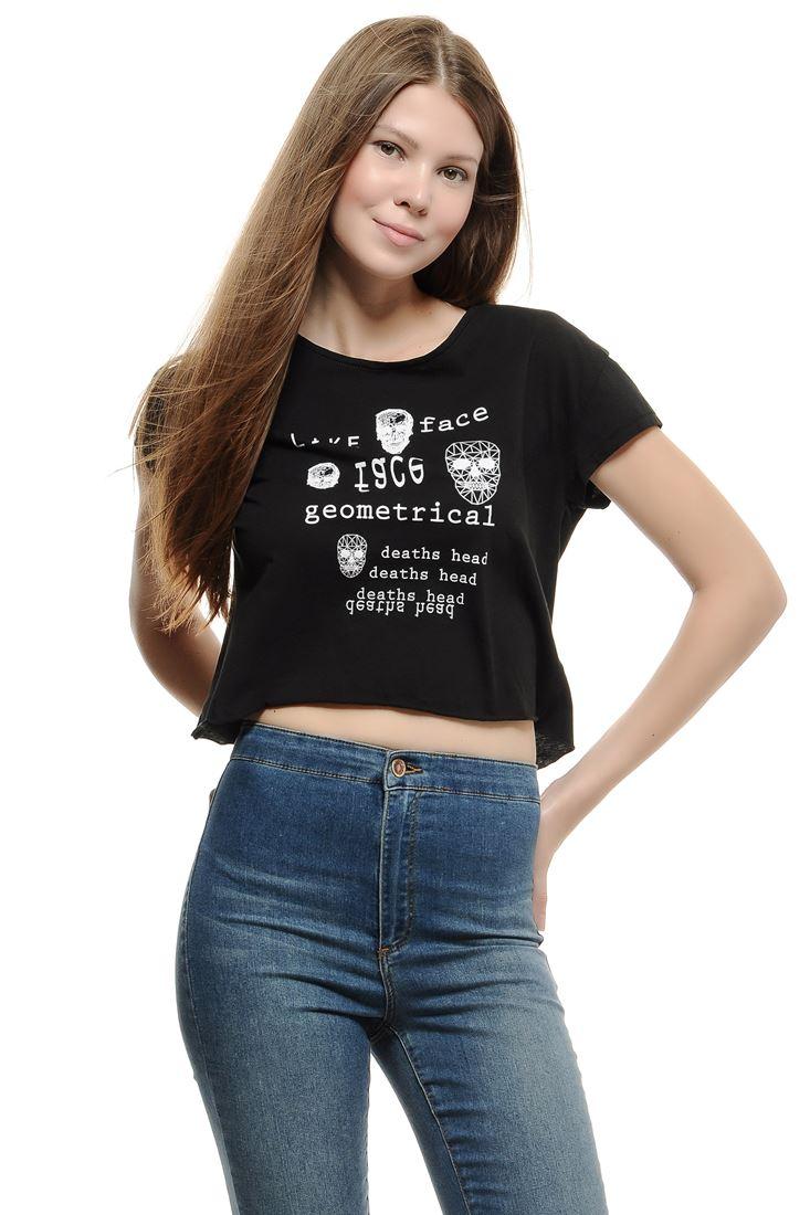 Bayan Siyah Slogan Kısa Tişört