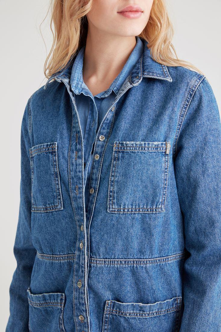 Bayan Mavi Uzun Denim Ceket