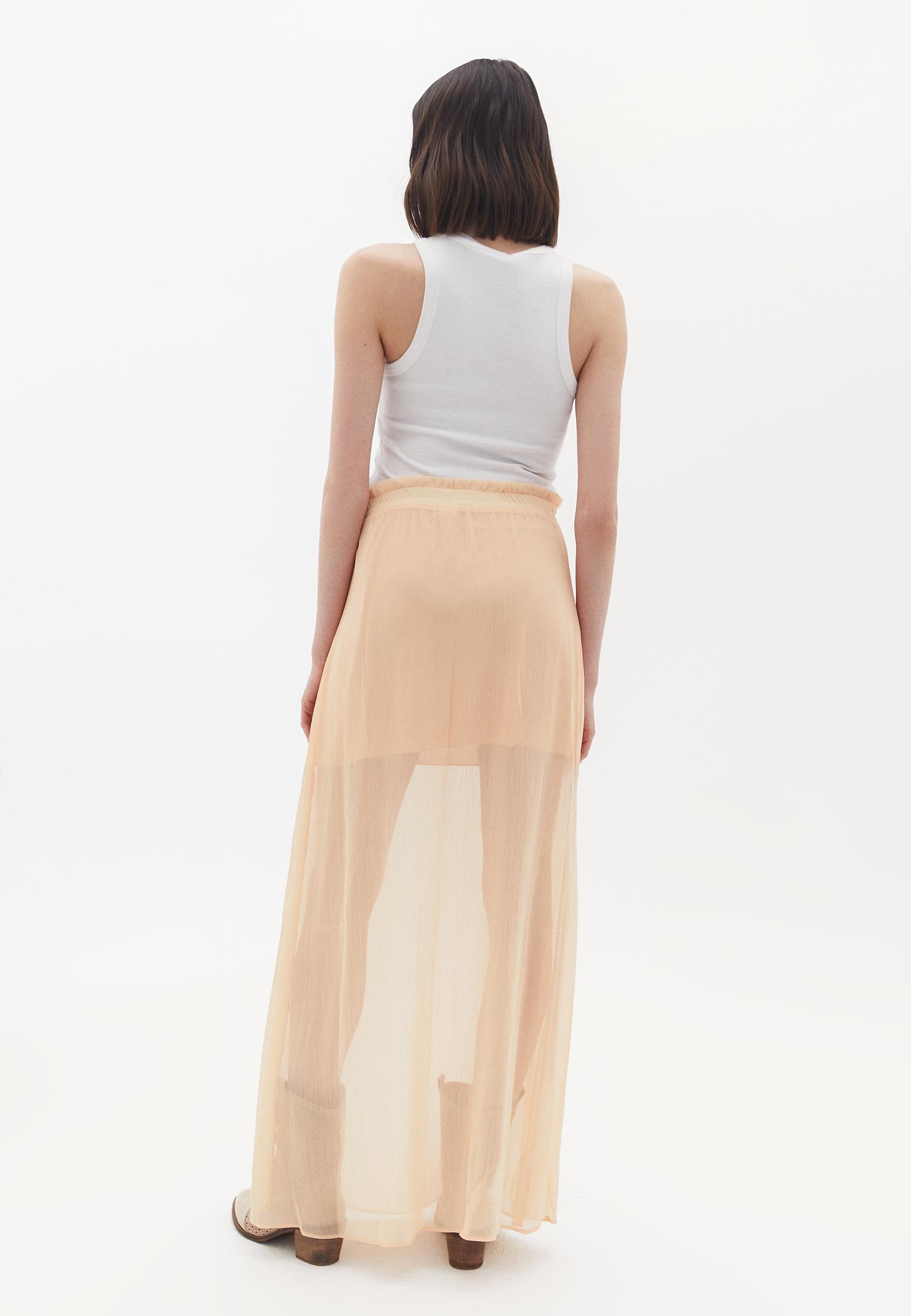 Bayan Turuncu Transparan Detaylı Uzun Etek