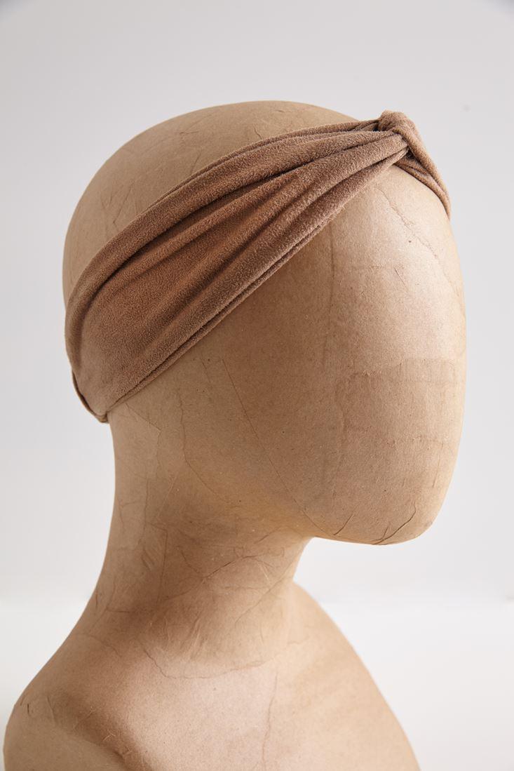 Kahverengi Süet Görünümlü Saç Bandı
