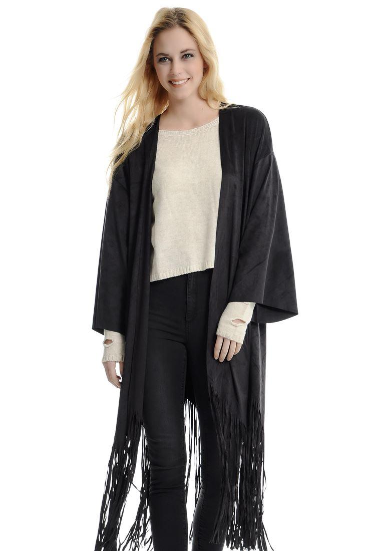 Siyah Süet Püsküllü Kimono Ceket