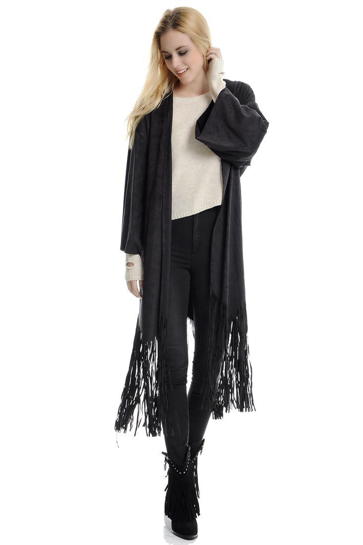 Bayan Siyah Süet Püsküllü Kimono Ceket