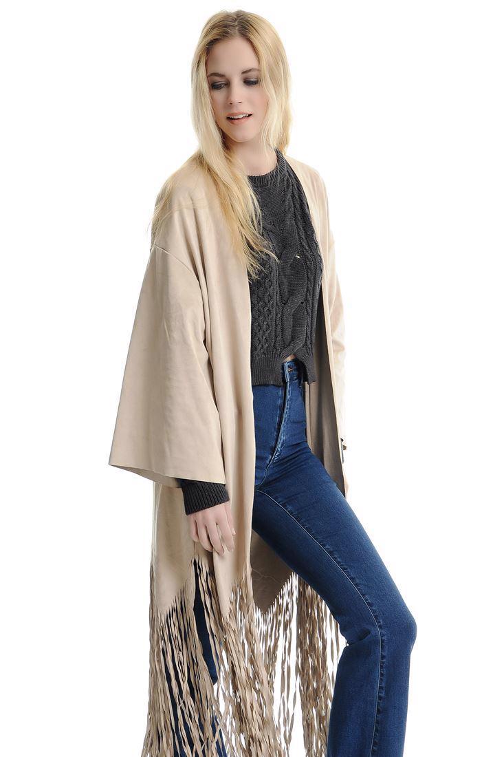 Bayan Krem Süet Püsküllü Kimono Ceket