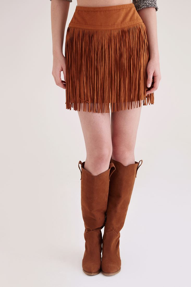 Brown Suede Mini Skirt With Fringing Detail