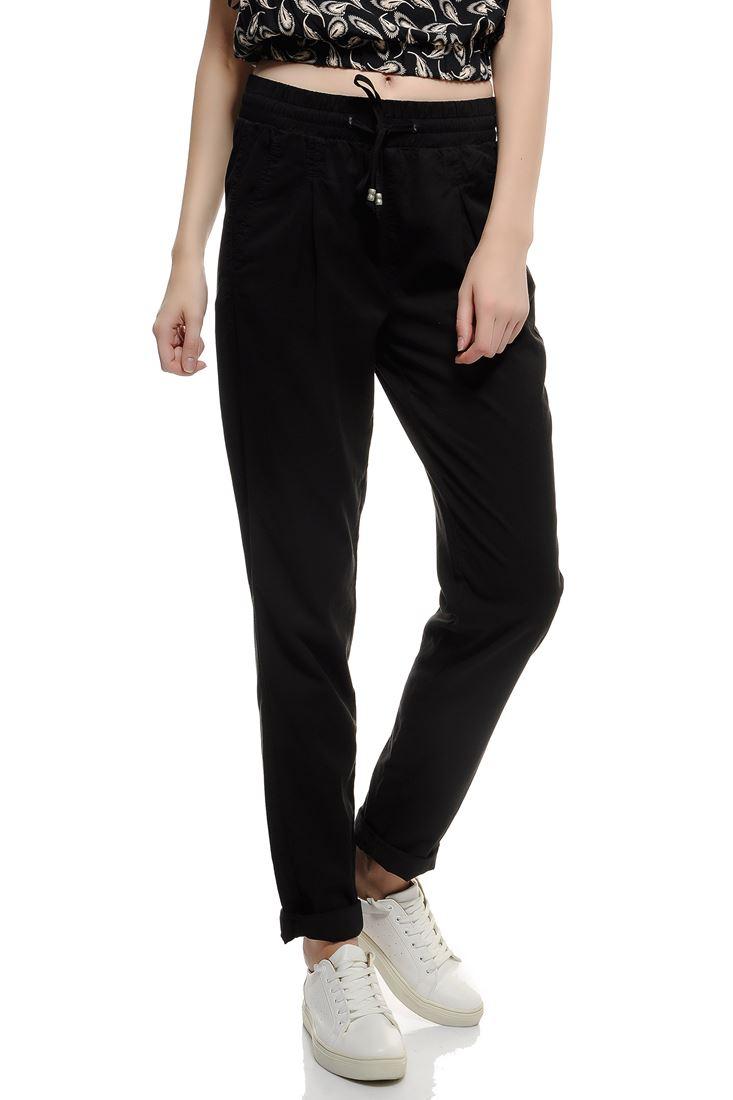Bayan Siyah Beli Bağlamalı Pantolon