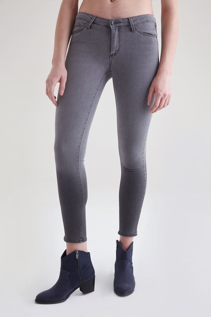 Grey Grey Mid -Rise Skinny Pants