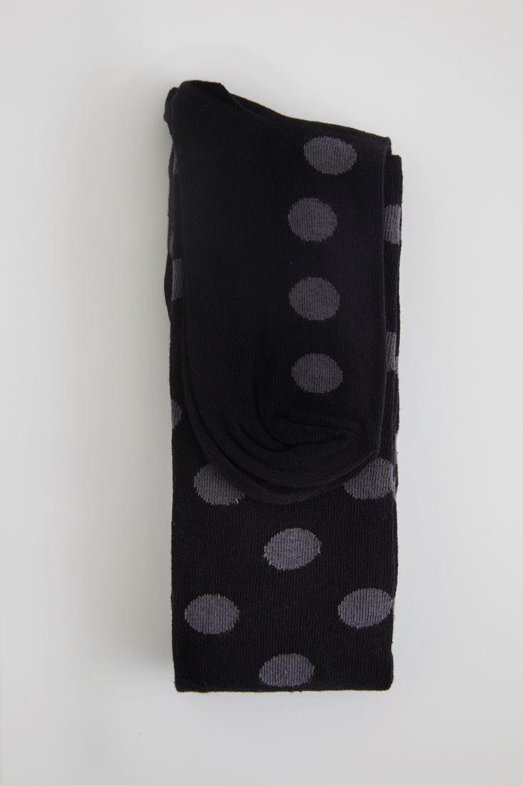 Siyah Benekli Siyah Çorap