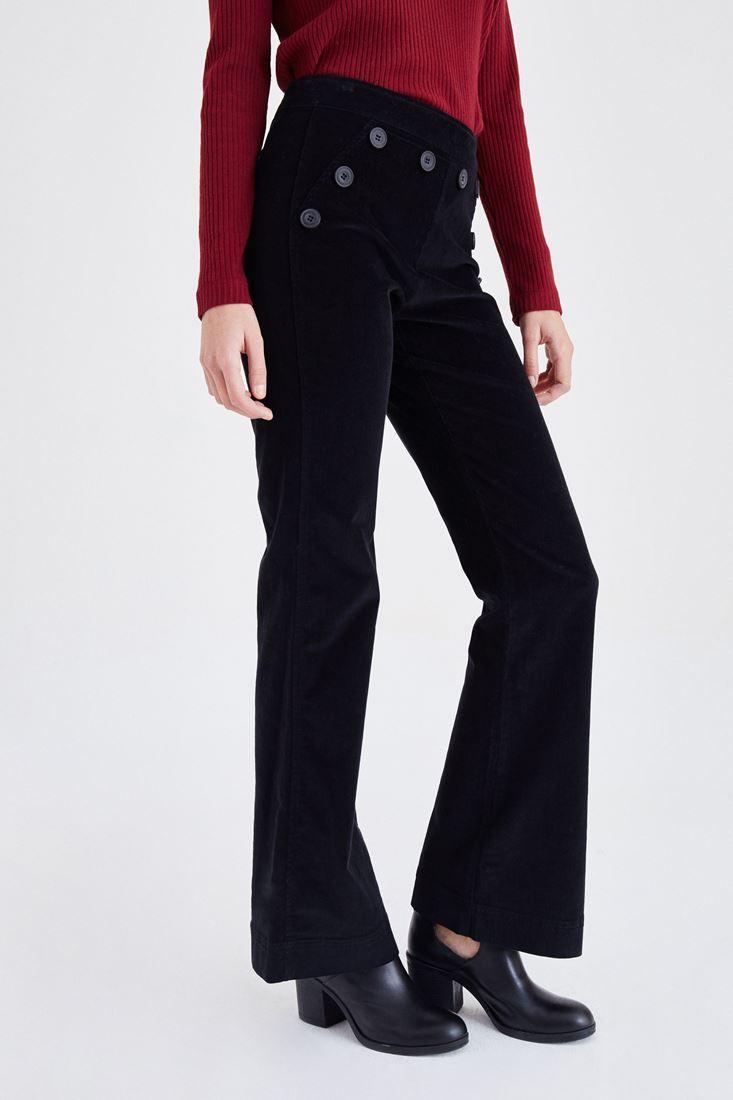 Bayan Siyah Önden Sekiz Düğmeli Kadife Pantolon