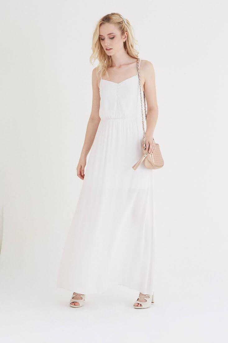 Bayan Krem Askılı Uzun Elbise